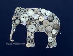 11x14 Elephant Button Art & Swarovski Art Elephant by BellePapiers, $299.00