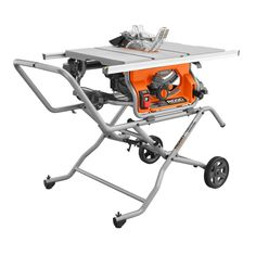 RIDGID introduces the 10 in. Pro Jobsite Table Saw with Stand. This heavy duty saw is equipped with a 5000 RPM motor. It features an updated portable folding stand that provides a single-point release for simple setup and great jobsite portability. Best Table Saw, Table Saw Stand, A Table, Wood Table, Console Table, Pranayama, Ridgid Table Saw, Home Depot Folding Table, Jobsite Table Saw