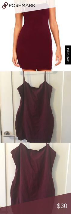 Flaunt it body con dress burgundy Sexy, flirty fun mini dress for a fun seeking posher!  LOVE THIS DRESS!  ❤️❤️ Lulu's Dresses Mini