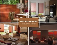 Read our expert design advice for incorporating warm winter colours into your home, from rich berry shades to warming spiced tones. Window Blinds, Blinds For Windows, Orange Blinds, Contemporary Windows, Living Room Blinds, Fall Color Palette, Hygge Home, Window Dressings, Home Trends