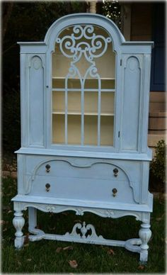 Annie Sloan Chalk Paint in Old White and Louis Blue Antique China Hutch