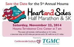 Registration is open for the 5th Annual #Houma #Heart & Soles #Half-Marathon & #5K.  Lowest introductory rates ever!