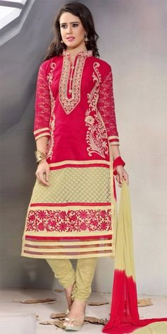 Stunning Red And Cream Cotton Straight Salwar Suit With Chiffon Dupatta.