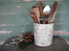 Birch Bark kitchen spoon or flower vase  from recycled can - Made by NHWoodscreations