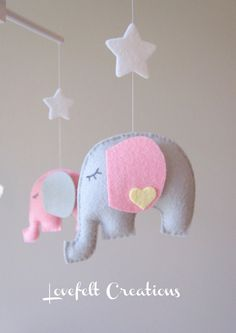 Baby mobile  Elephant Mobile  Baby Girl Mobile  by LoveFeltXoXo, $90.00    grey and violet :)