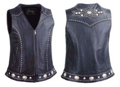 Steel Cowgirl Concho Embellished Leather Western Motorcycle Vest