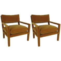 Pair of Fully Upholstered Open-Arm Lounge Chairs by Milo Baughman | From a unique collection of antique and modern lounge chairs at http://www.1stdibs.com/furniture/seating/lounge-chairs/
