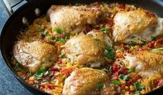 One pot chicken and orzo with onions, tomato, garlic. Allowing the orzo to toast really adds a surprising amount of flavour to the finished dish. Orzo Recipes, Chicken Recipes Video, Baked Chicken Recipes, Recipe Chicken, Skillet Recipes, Healthy Recipe Videos, Healthy Chicken Recipes, One Pot Chicken, Skillet Chicken