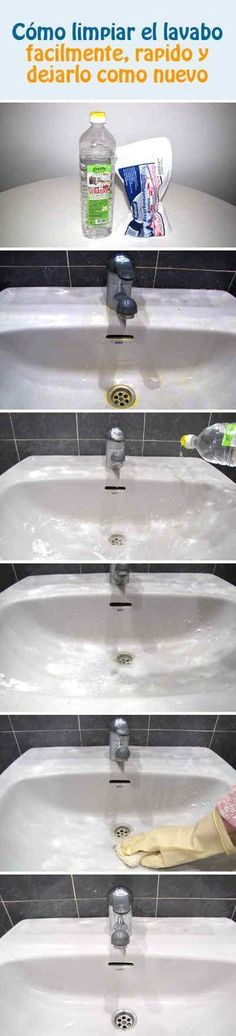 Cómo limpiar el lavabo facilmente, rapido y dejarlo como nuevo #baño #lavabo #limpieza #tips #DIY Keurig Cleaning, Toilet Paper Origami, Bathroom Cleaning Hacks, Cleaning Tips, Power Clean, Natural Cleaners, Cleaning Solutions, Home Hacks, Home Organization