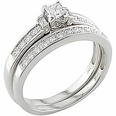 @Overstock.com - Miadora 14k White Gold 1/3ct TDW Diamond Bridal Ring Set (G-H, I1-I2) - This luxurious wedding ring set will display your eternal love. This 14-karat engagement ring and wedding band set features a dazzling princess-cut center diamond. Adorning both the wedding band and engagement ring are fiery, shimmering diamonds.  http://www.overstock.com/Jewelry-Watches/Miadora-14k-White-Gold-1-3ct-TDW-Diamond-Bridal-Ring-Set-G-H-I1-I2/3909601/product.html?CID=214117 $570.17