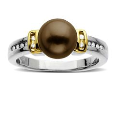 S Sterling Silver and 14k Yellow Gold 8mm Chocolate Freshwater Cultured Pearl and Diamond Ring (0.06 cttw, I-J Color, I3 Clarity): Jewelry: Amazon.com