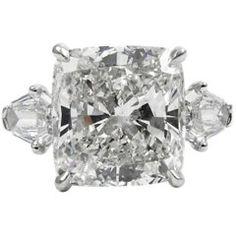 GIA Certified 8.44 Carat Cushion Diamond Platinum Three-Stone Pave Ring