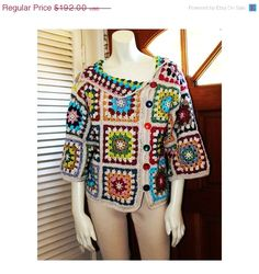 Crochet Top - Size 4-6 - Cotton Granny Square Colorful Design Sweater  by Annie Briggs 'Shonda'