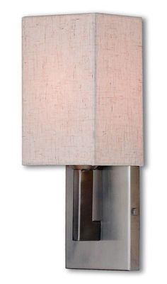 View the Livex Lighting 52131 Meridian 1 Light ADA Compliant Wall Sconce with Hand Crafted Fabric Shade at LightingDirect.com.