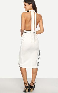 White Halter Sleeveless Cutout Sheath Dress