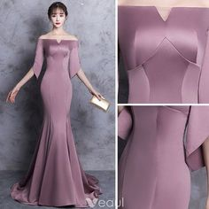 Chic / Beautiful Evening Dresses 2018 Trumpet / Mermaid Off-The-Shoulder Backless Sleeves Sweep Train Formal Dresses Chic / Schöne Abendkleider 2018 Trompete / Meerjungfrau Off-The-Shoulder Backless Ärmel Sweep Train Abendkleider Elegant Dresses, Beautiful Dresses, Formal Dresses, Homecoming Dresses, Bridesmaid Dresses, Dress Sewing Patterns, Clothing Patterns, Mode Style, African Fashion
