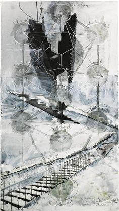Anselm Kiefer (German, b. 1945), Sefiroth, 2002. Mixed media on photograph laid on canvas, 157 x 88 cm.