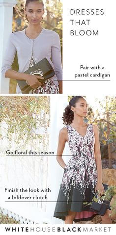 Spring is in the air—and our dress collection is in full bloom. When the cool weather makes way for warmer days it's time to find floral dresses (like this one, paired with a lavender cardigan). Get excited for the brunches, lunches and other plans that make spring the season fluent in floral. | White House Black Market
