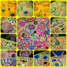 Making art together: collaborative circle painting by Joanna Davis-Lanum at PreK + K Sharing
