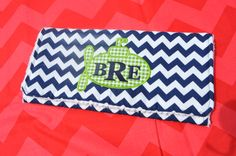 Custom Green and Navy Chevron Burp Cloth and by SweetKeikiBoutiki, $25.00