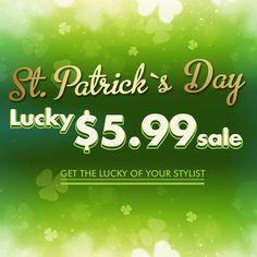 St.Patrick's Day Lucky $5.99 sale at-www.abhair.com FREE SHIPPING FOR ALL U.S. ORDERS #abhair #hair #hairstyle #sale #clipins #hairextension