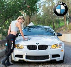 For decades, a sales technique at auto shows employs female models attired in tight dresses or miniskirts wearing uncomfortable heels, smiling and posing enchantingly. E92 335i, E36 Cabrio, Sexy Cars, Hot Cars, Bmw Girl, Bmw Love, Bmw 2002, Car Girls, Girl Car