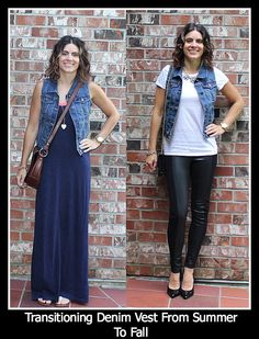 Transitioning Your Denim Vest From Summer To Fall Autumn Summer, Fall Winter, Fashion Now, Lemonade, Vodka, Fall Outfits, Autumn Fashion, Vest, Denim