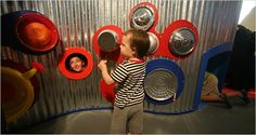 Fun! Great idea for drums and music area for toddlers!