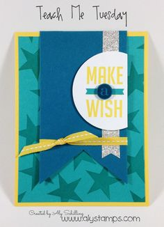 MakeaWishCard (Sentiment under the pennant) Fun Fold Cards, Folded Cards, Cute Cards, Crafty Craft, Masculine Cards, Kids Cards, Stampin Up Cards, Stamping, Dandelion