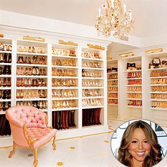 Oh my gosh. A whole wing of the closet for SHOES! Mariah Carey organizes her shoe closet by color and material, as well as in event-specific groupings. Lovely.