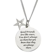 Good Friends Are Like Stars.... Stainless Steel Disc and Star Friendship Pendant…