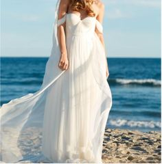 Off-the-Shoulder Empire Pleated White Sweetheart Backless Chiffon Beach Wedding Dress, 758 · Loveprom · Online Store Powered by Storenvy Wedding Dress Chiffon, Wedding Dresses Plus Size, Prom Dresses, Wedding Colors, Wedding Styles, Wedding Ideas, Different Dresses, Wedding Suits, Elegant Dresses