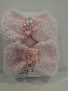 Baby's Pink Bow Hair Clips with Crystal Flower by SnugglebuggKnit
