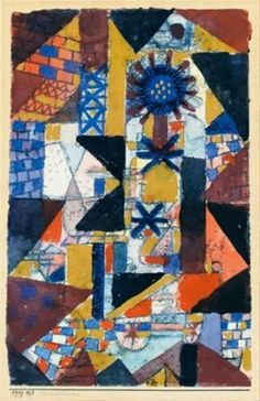 Paul Klee - Dächerblume (Rooftop flower), 1919. Gouache, watercolour and pen and ink on paper laid down on the artist's original mount, 31 x 21.5 cm (12 1/4 x 8 1/2 in.).