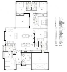 Floor Plan Friday: Classic Hamptons single-storey home, enclose 18 for rumpus room, turn theater into guest bedroom with ensuite. 4 Bedroom House Plans, New House Plans, Dream House Plans, House Floor Plans, Hamptons Style Homes, Hamptons House, The Hamptons, Hamptons Style Bedrooms, Hamptons Decor