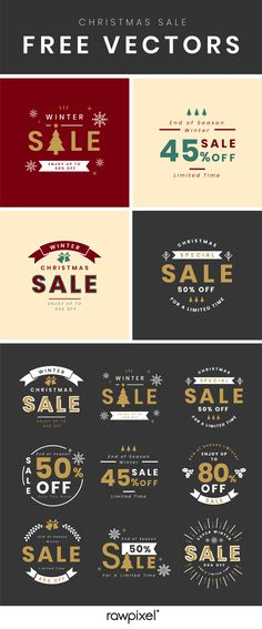 Download high-resolution royalty-free Christmas design promotion banner and sale templates for your campaigns on social media, as well as stock photos, wallpapers, stickers, backgrounds, illustrations, printables, frames, elements, and mockups at rawpixel.com Ad Design, Vector Design, Free Design, Free Vector Illustration, Free Illustrations, Creative Banners, Creative Design, Photos For Facebook, Christmas Sale