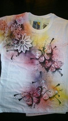 Arts And Crafts Furniture T Shirt Painting, Fabric Painting, Arts And Crafts Supplies, Diy Arts And Crafts, Paint Shirts, Alcohol Ink Crafts, Painted Clothes, Shell Crafts, Paint Designs