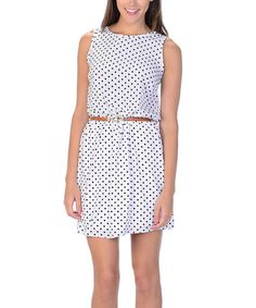 #Kokette Another great find on #zulily! White Polka Dot Sleeveless Dress #zulilyfinds