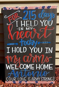 Military Homecoming Sign / Chalkboard /. Deployment / Air Force Marines / Navy / Army / to order please email Charlestonchalkchick@gmail.com or visit and message www.facebook.com/charlestonchalkchick Military Homecoming Signs, Military Signs, Military Wife, Welcome Home Decorations, Welcome Home Banners, Deployment Countdown, Deployment Gifts, Welcome Home Signs For Military, Homecoming Decorations