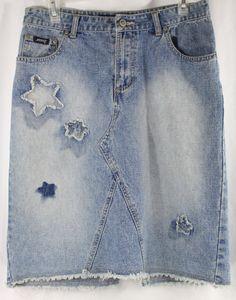 Stephen Hardy Squeeze Jean Denim Skirt Star Patches Size 7/8 Distressed  #StephenHardy #ALine