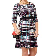 Plus size dress A 3/4 sleeve with black faux belt. This purple, teal, mustard, and white dress has a side zipper and if I had more self control I would wear this with a black sweater and pumps to the office. Triste Dresses