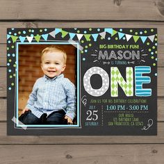 First Birthday Invitation boy birthday by Anietillustration