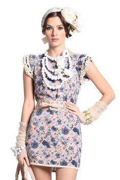 Fashion Ruffles Sleeve Floral Dress