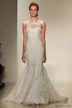 kelly faetanini fall 2016 wedding dress bridal week runway fashion beautiful mermaid gown trumpet fit to flare