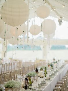 A Chic Laure de Sagazan Gown for a Boho Luxe English Country Wedding. Photography by John Barwood. wedding gown A Chic Laure de Sagazan Gown for a Boho Luxe English Country Wedding Wedding Lanterns, Wedding Table Decorations, Tent Wedding, Wedding Themes, Boho Wedding, Wedding Blog, Rustic Wedding, Wedding Reception, Wedding Ideas