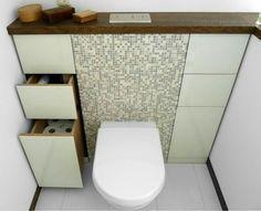 Space Saving Toilet Design for Small Bathroom - Tiny house interior Badezimmer Badezimmer dusche Badezimmer fliesen Attic Bathroom, Bathroom Toilets, Laundry In Bathroom, Bathroom Things, Bathroom Small, Modern Bathroom, Serene Bathroom, Bathroom Green, Mosaic Bathroom