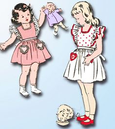 1940s Vintage Butterick Sewing Pattern 4515 Toddler Girls Pinafore Dress Size 2