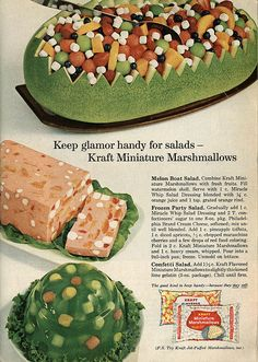Glamour with mini marshmallows. #vintage #1960s #food #ads