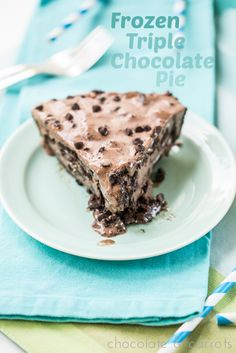 Frozen Triple Chocolate Pie | chocolateandcarrots.com #dairyfree #glutenfree #recipe