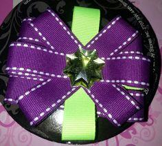 Purple & green hairbow